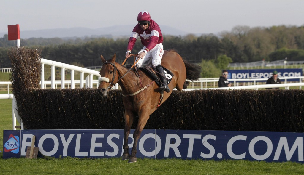 Quinto De La Roque ridden by Davy Russell jumps the last to win the Growise Champion Novice Chase during the Boylesports.com Champion Chase Day at Punchestown Racecourse, Naas, Ireland.