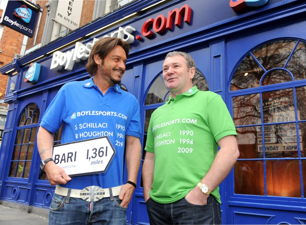 30 March 2009; Toto Schillaci and Ray Houghton at the launch of Boylesports' supporters promotion for Irish fans travelling to Bari for the crunch group 8 game between the Republic of Ireland and the Azzurre. Boylesports, Grafton Street, Dublin. Picture credit: Pat Murphy / SPORTSFILE *** NO REPRODUCTION FEE ***
