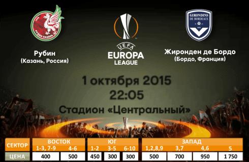 Прогноз на матч Рубин — Бордо, Лига Европы, 1 октября
